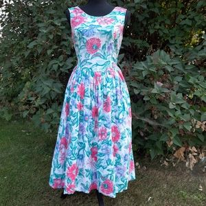 VTG 80s Honors Backless Floral Fit & Flare Dress S
